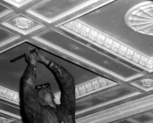L44869 man fixing ceiling