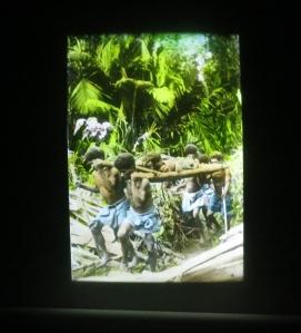 Mission slides projected through vintage magic lantern