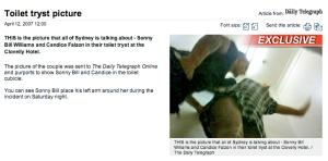 Screen grab of Daily Telegraph website. 12 April, 2007