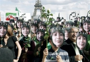 Widely circulated AP image of pro democracy demonstration in Paris, 25 July 2009