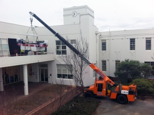 11.36 am, printer craned up to the first floor
