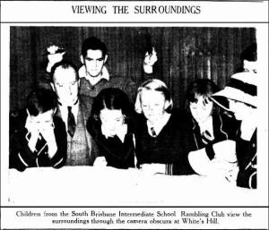 'Children from the South Brisbane Intermediate School Rambling Club view the surroundings through the camera obscura at White's Hill', The Telegraph, 18 July 1936, p30