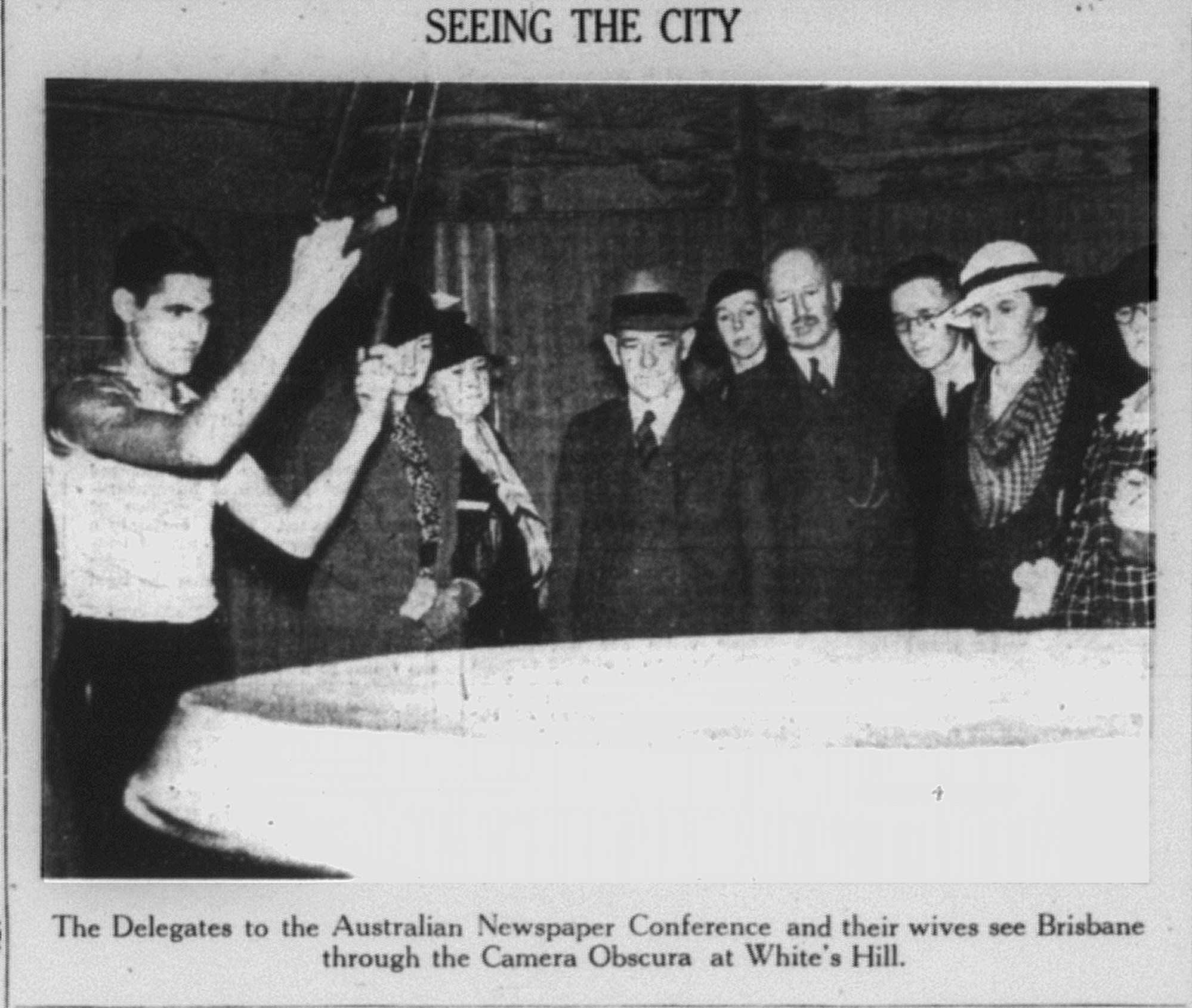 'Seeing the City, The Delegates to the Australian Newspaper Conference and their wives see Brisbane through the Camera Obscura at White's Hill', The Telegraph, 1 June 1935 p13.