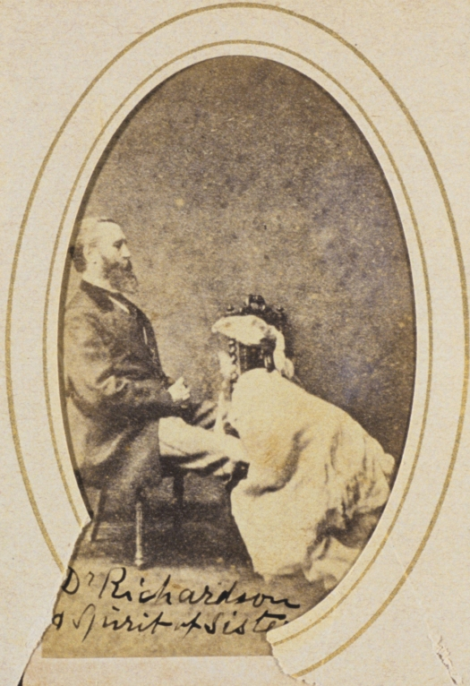Frederick Hudson, Dr Richardson and spirit of his sister, 1873-74, carte-de-visite in album page, National Gallery of Australia, Canberra.