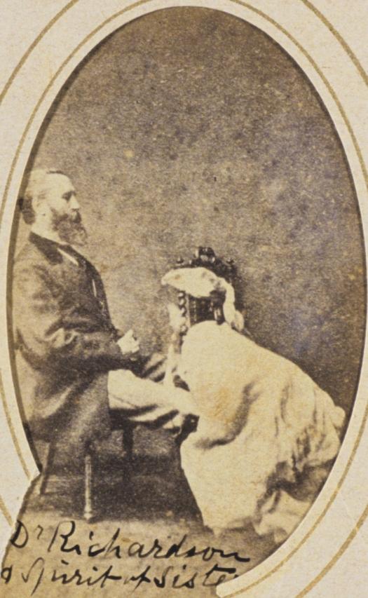 Frederick Hudson, Spirit photograph of Dr Walter Lindsey Richard, carte de visite, 1873-74