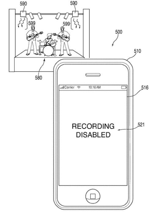 Apple's patent for a 'concert camera blocker'