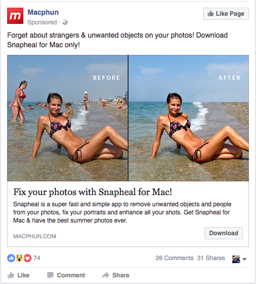 'Snapheal' ad